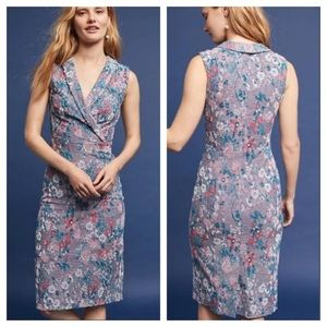 Anthropologie Maeve Floral Textured Sheath Dress 6